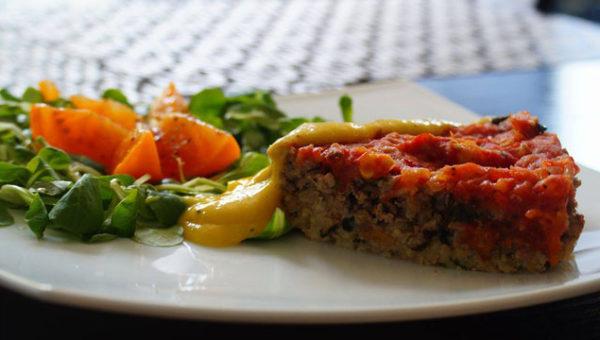 Zapiekanka mięsno-ryżowa z musem z mango
