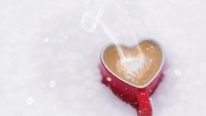 Podsumowanie grudnia - kubek z gorącą czekoladą na śniegu