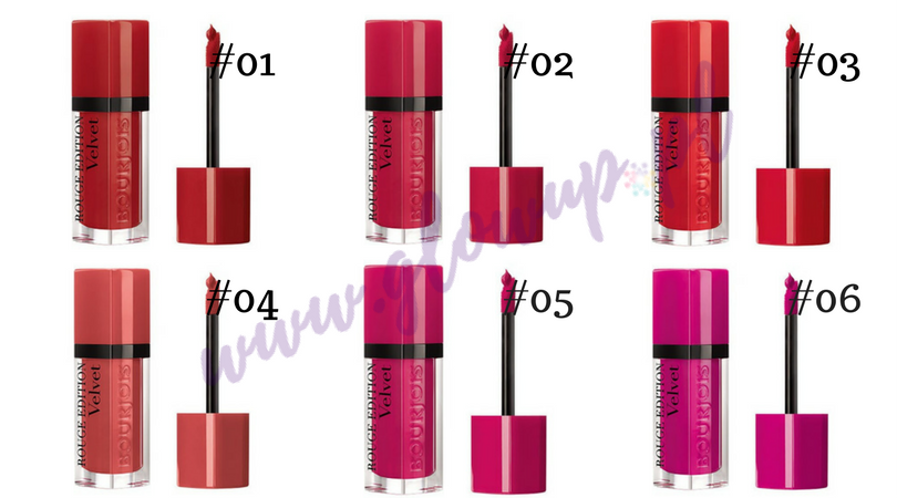 Pomadki Bourjois Rouge Velvet Edition, odcienie od 01 do 06