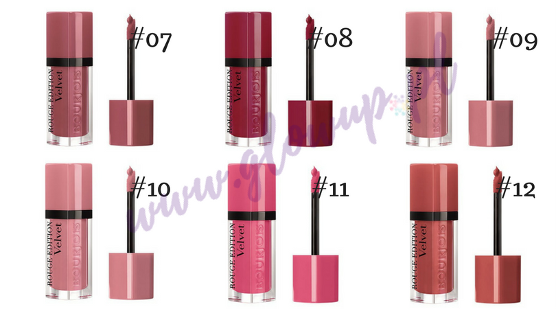 Pomadki Bourjois Rouge Velvet Edition, odcienie od 07 do 012