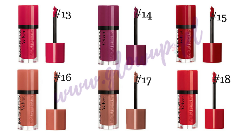 Pomadki Bourjois Rouge Velvet Edition, odcienie od 13 do 18